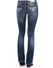 Rock & Roll Cowgirl Women's Stretch Rival Low Rise Slim Fit Boot Cut Jeans - Dark Vintage (Closeout)