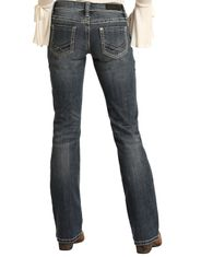 Rock & Roll Cowgirl Women's Stretch Rival Low Rise Slim Fit Boot Cut Jeans - Medium Vintage