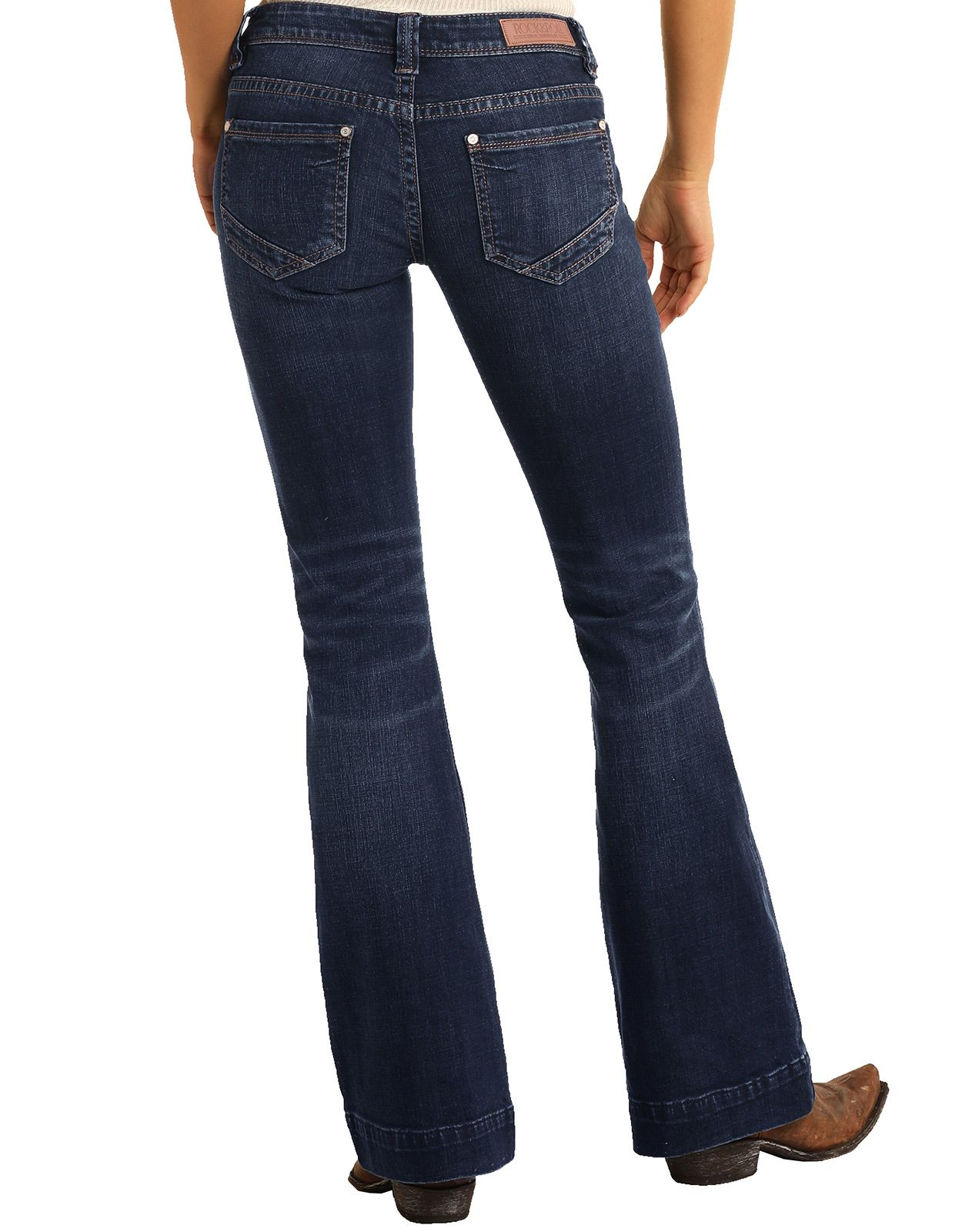 Rock & Roll Cowgirl Women's Stretch Trouser Low Rise Boot Cut Jean - Dark Vintage (Closeout)