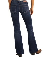Rock & Roll Cowgirl Women's Stretch Trouser Low Rise Boot Cut Jean - Dark Vintage