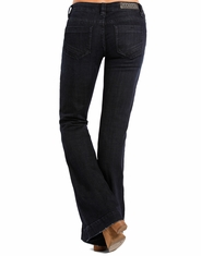 Rock & Roll Cowgirl Women's Stretch Trouser Low Rise Bootcut Jean - Dark Wash