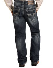 Rock & Roll Denim Boy's BB Gun Mid Rise Regular Fit Boot Cut Jeans - Dark Vintage
