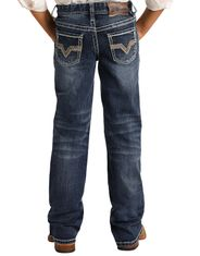 Rock & Roll Denim Boy's Reflex BB Gun Mid Rise Regular Fit Boot Cut Jeans - Dark Vintage