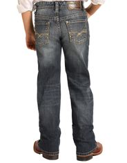 Rock & Roll Denim Boy's Reflex BB Gun Mid Rise Regular Fit Boot Cut Jeans- Dark Wash