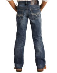 Rock & Roll Denim Boy's Reflex BB Gun Mid Rise Regular Fit Boot Cut Jeans- Medium Wash