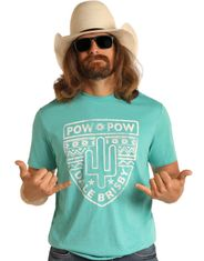 Rock & Roll Denim Men's Dale Brisby Short Sleeve Print Tee Shirt - Turquoise