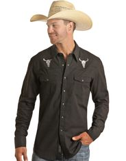 Rock & Roll Denim Men's Long Sleeve Embroidered Snap Shirt - Black
