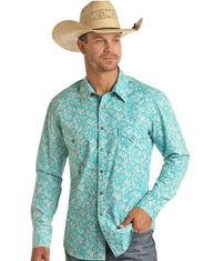 Rock & Roll Denim Men's Long Sleeve Paisley Snap Shirt - Teal