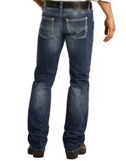 Rock & Roll Denim Men's Pistol Low Rise Regular Fit Straight Leg Jeans - Dark Vintage