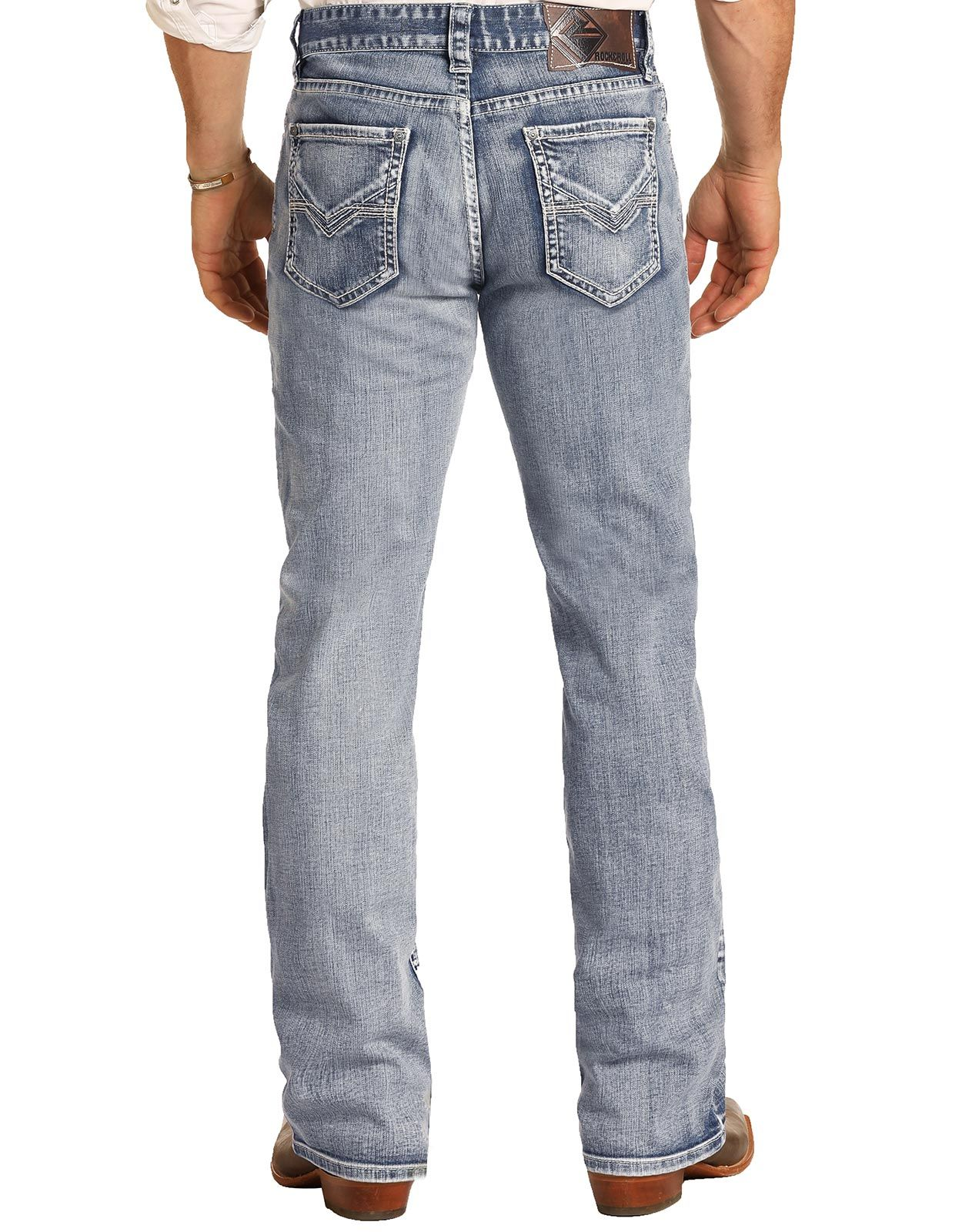 Rock & Roll Denim Men's Reflex Double Barrel Low Rise Relaxed Fit Boot Cut Jeans - Light Wash