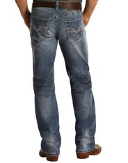 Rock & Roll Denim Men's Reflex Double Barrel Low Rise Relaxed Fit Straight Leg Jeans - Light Wash