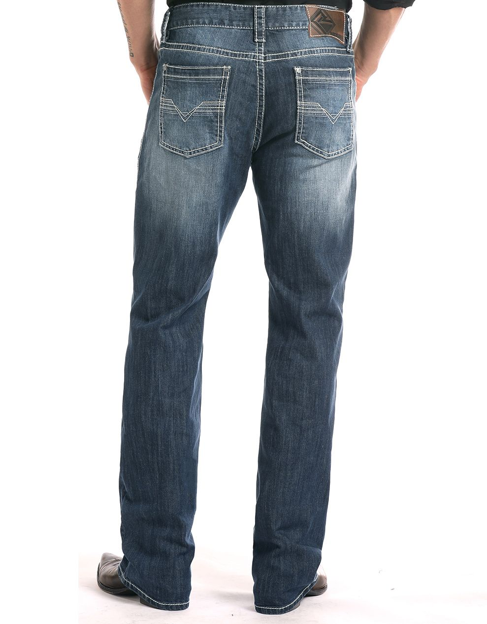 Rock & Roll Denim Men's Reflex Double Barrel Low Rise Relaxed Fit Straight Leg Jeans - Medium Wash