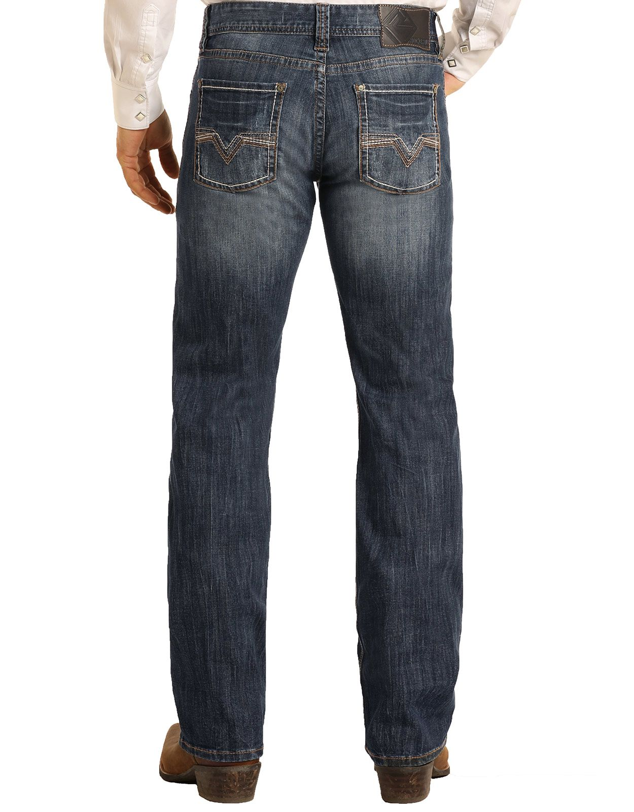 Rock & Roll Denim Men's Reflex Pistol Low Rise Regular Fit Straight Leg Jeans - Dark Vintage