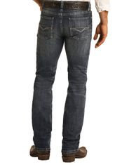 Rock & Roll Denim Men's Reflex Revolver Low Rise Slim Fit Straight Leg Jeans - Dark Vintage