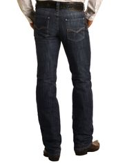 Rock & Roll Denim Men's Reflex Revolver Low Rise Slim Fit Straight Leg Jeans - Dark Wash