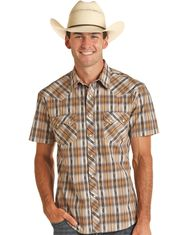 Rock & Roll Denim Men's Short Sleeve Plaid Snap Shirt - Brown (Closeout)
