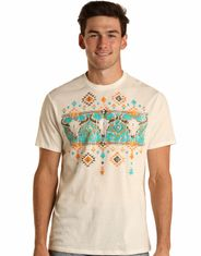 Rock & Roll Denim Men's Short Sleeve Print Tee Shirt - White