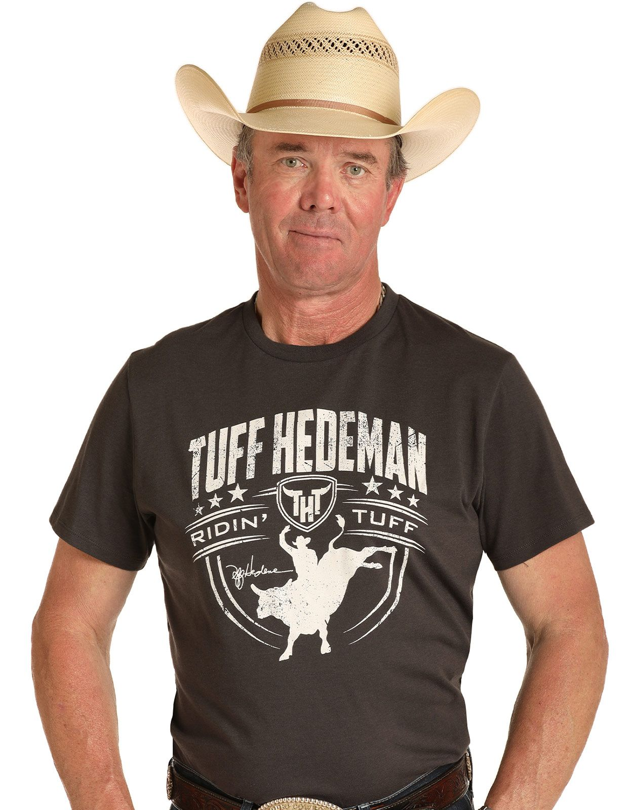 Rock & Roll Denim Men's Tuff Hedeman Short Sleeve Print Tee Shirt - Charcoal (Closeout)