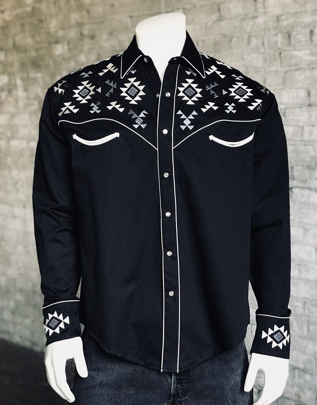 Rockmount Men's Long Sleeve Embroidered Snap Shirt - Black (Closeout)
