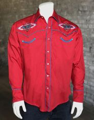 Rockmount Men's Long Sleeve Embroidered Snap Shirt - Red