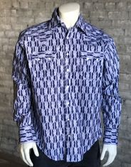 Rockmount Men's Long Sleeve Ikat Print Snap Shirt - Navy (Closeout)