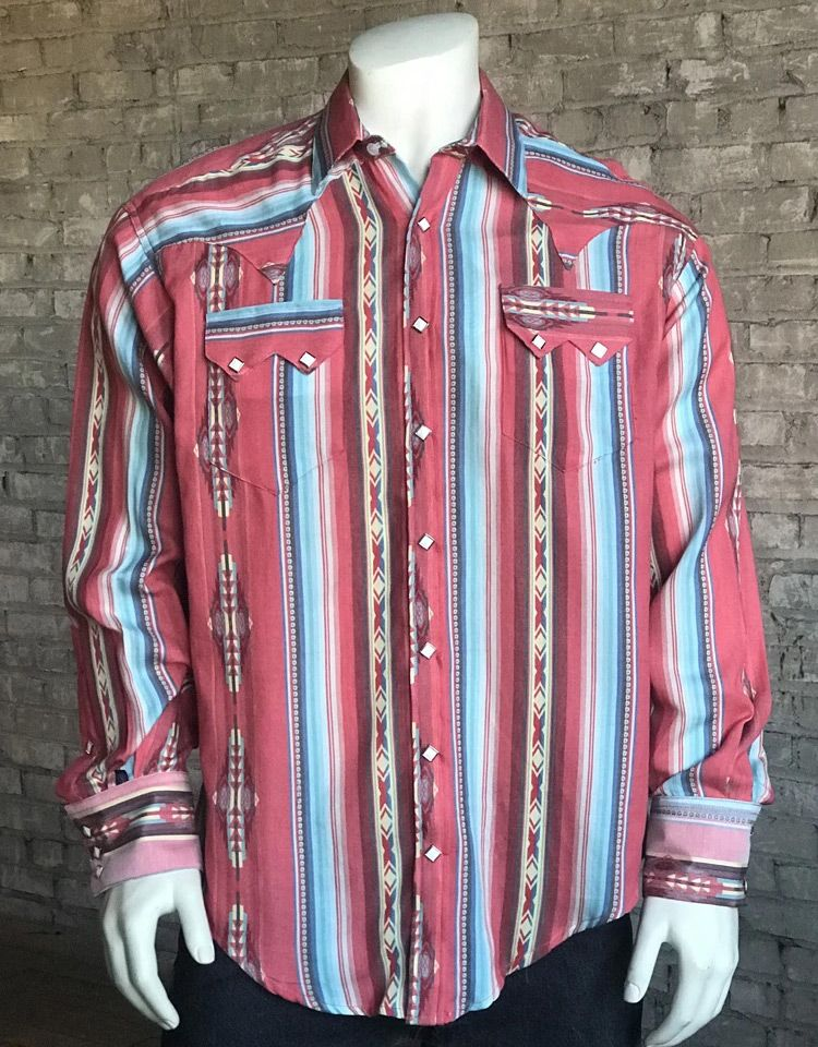 Rockmount Men's Long Sleeve Serape Stripe Snap Shirt - Coral