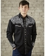 Rockmount Men's Long Sleeve Vintage Tool Embroidered Snap Shirt - Black/Silver