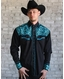 Rockmount Men's Long Sleeve Vintage Tool Embroidered Snap Shirt - Black/Turquoise