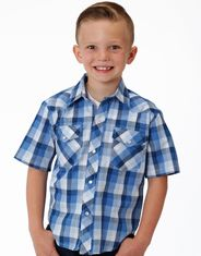 Roper Boy's Short Sleeve Plaid Snap Shirt - Blue