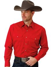 Roper Men's Western Long Sleeve Solid Snap Shirt - Red