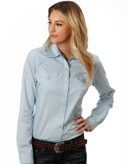 Roper Women's Long Sleeve Solid Snap Shirt - Blue