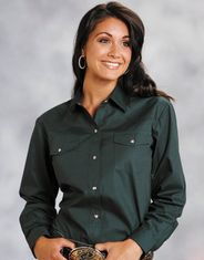 Roper Women's Long Sleeve Solid Snap Shirt - Green