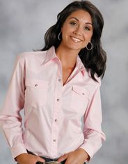 Roper Women's Long Sleeve Solid Snap Shirt - Pink