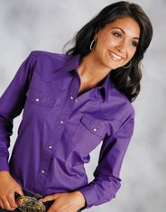 Roper Women's Long Sleeve Solid Snap Shirt - Purple