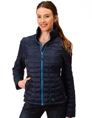 Roper Women's Quilted Solid Zip Jacket - Navy (Closeout)