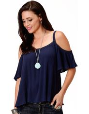 Roper Women's Short Sleeve Solid Cold Shoulder Top - Blue