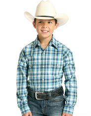 Rough Stock Boy's Long Sleeve Plaid Snap Shirt- Blue