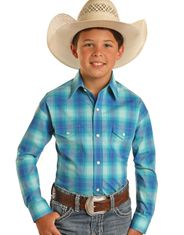 Rough Stock Boy's Long Sleeve Plaid Snap Shirt - Turquoise