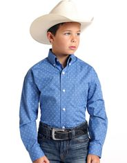 Rough Stock Boy's Long Sleeve Print Button Down Shirt- Blue