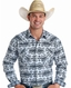 Rough Stock Men's Long Sleeve Print Snap Shirt - Grey