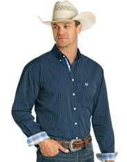 Rough Stock Men's Long Sleeve Stripe Button Down Shirt- Navy