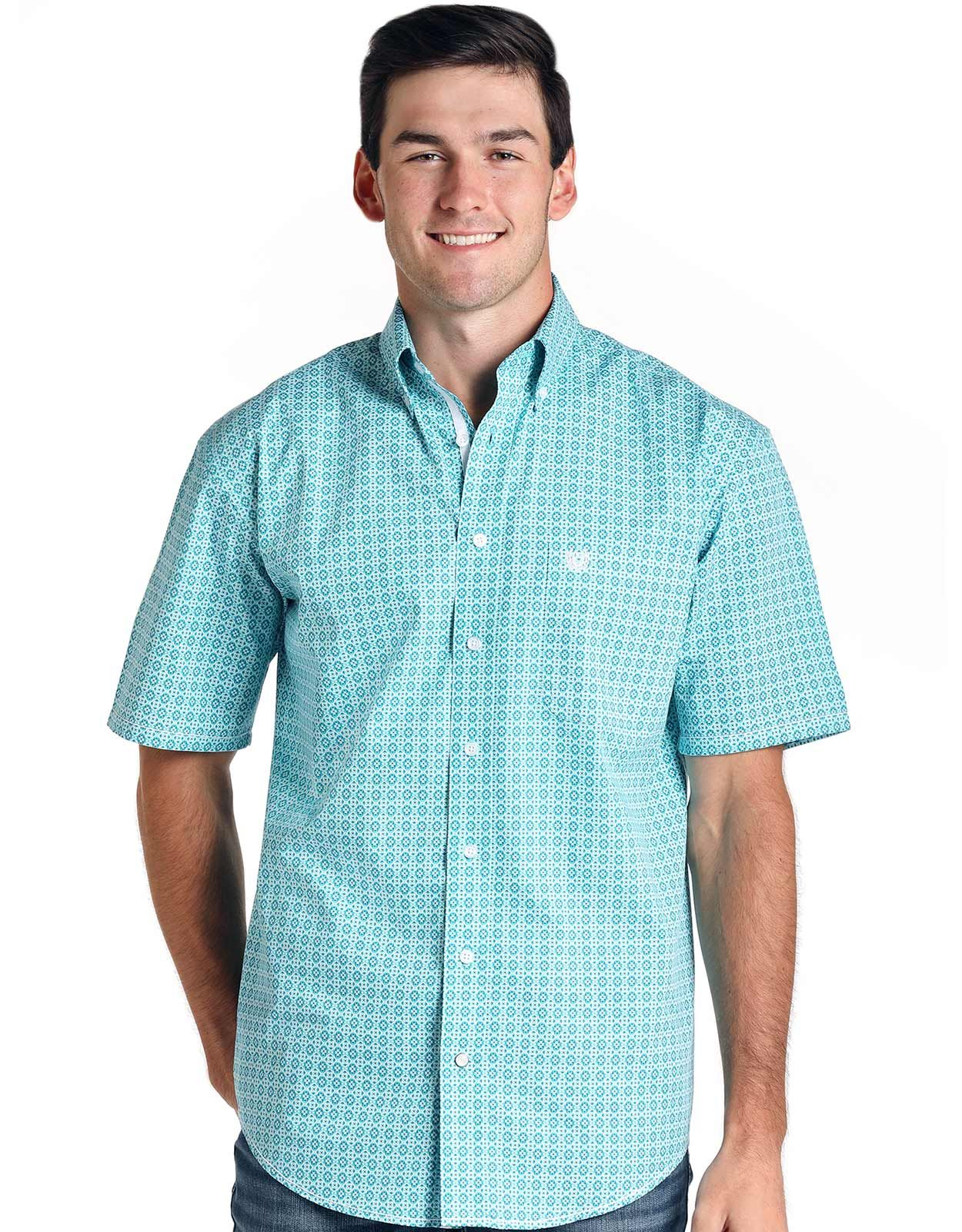 Rough Stock Men's Short Sleeve Print Button Down Shirt - Turquoise