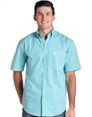 Rough Stock Men's Short Sleeve Print Button Down Shirt - Turquoise (Closeout)
