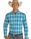 Rough Stock Men's Stretch Long Sleeve Plaid Button Down Shirt - Turquoise