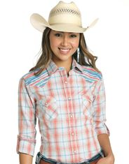 Rough Stock Women's Long Sleeve Embroidered Plaid Snap Shirt - Orange