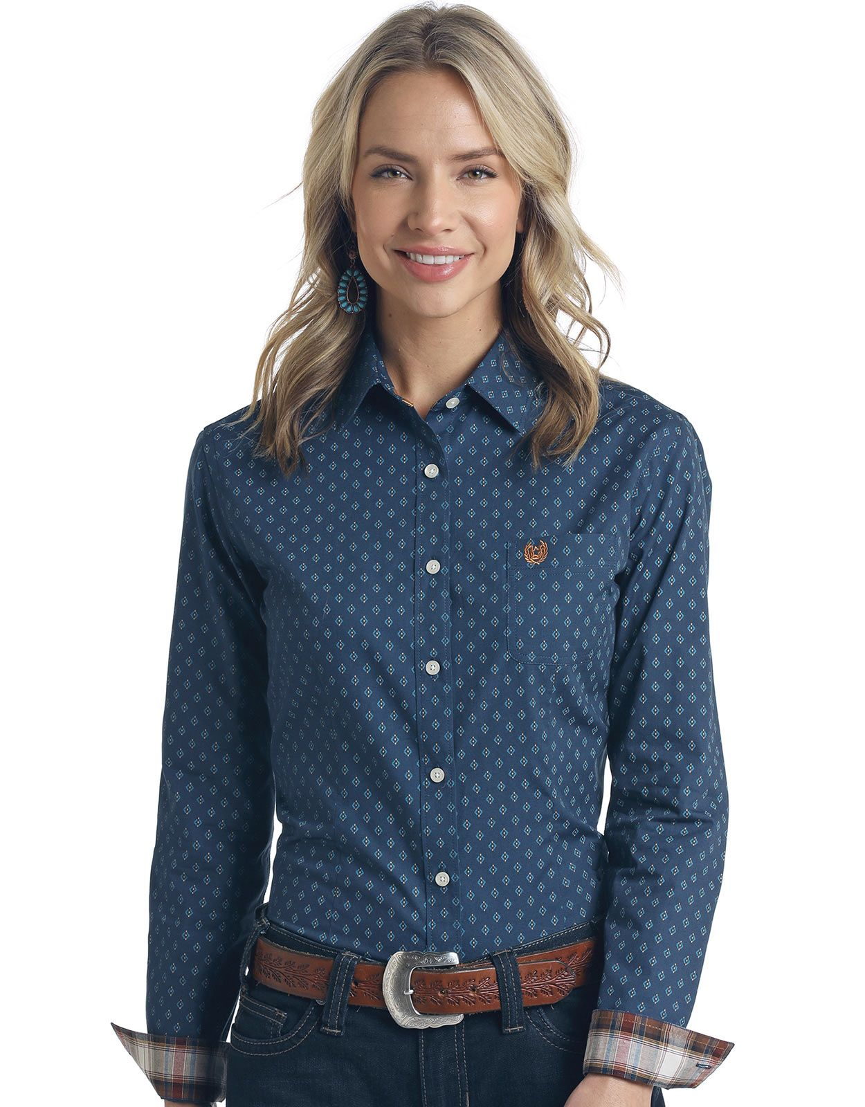 Rough Stock Women's Long Sleeve Print Button Down Shirt - Light Navy
