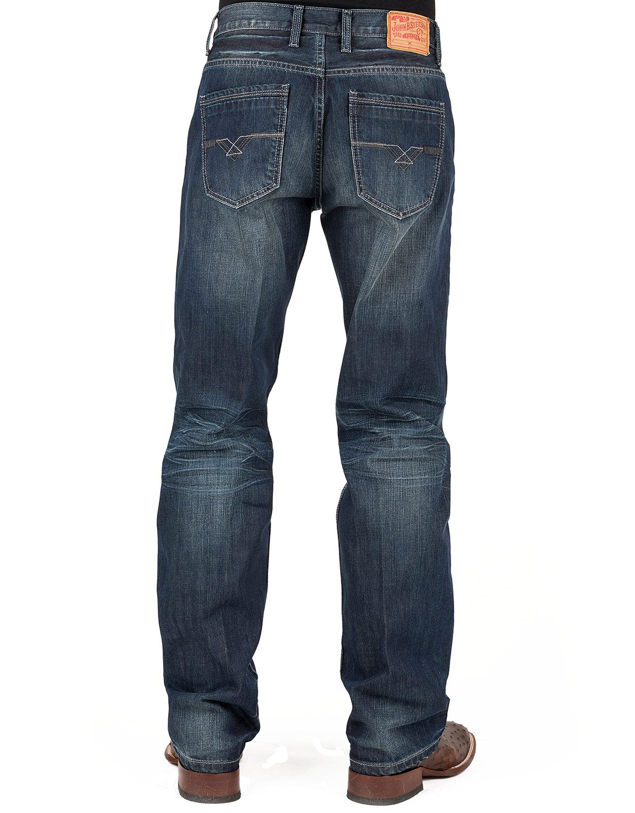 Stetson Men's 1312 Modern Fit Low Rise Relaxed Fit Straight Leg Jeans - Dark Vintage (Closeout)