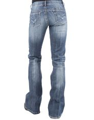 Stetson Women's 816 Stretch Low Rise Slim Fit Boot Cut Jeans - Dark Wash