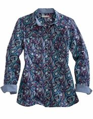 Tin Haul Women's Long Sleeve Paisley Snap Shirt - Blue