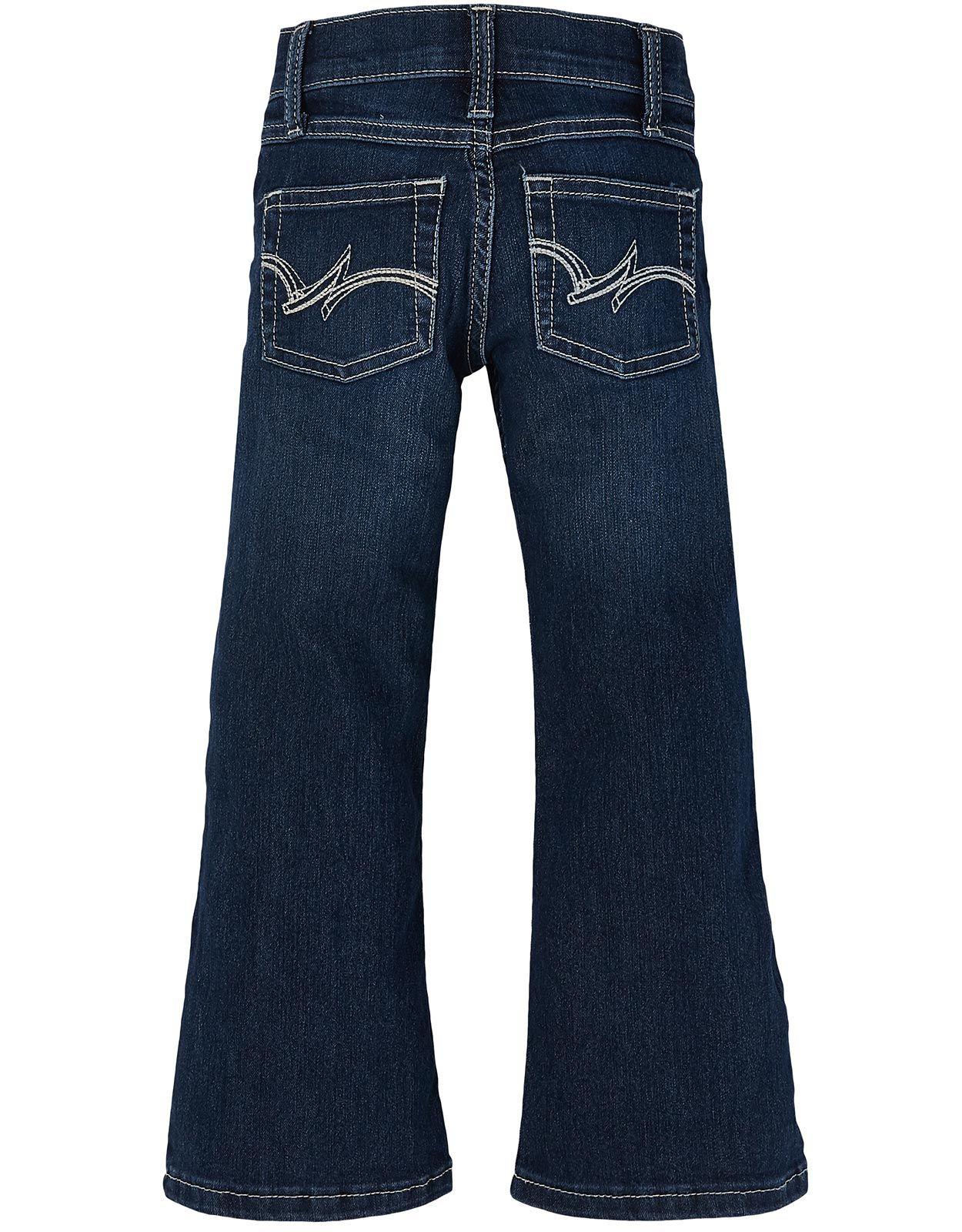 Wrangler Girl's Stretch Low Rise Regular Fit Boot Cut Jeans (Sizes 4-14) - Dark Blue